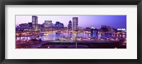 Framed Inner Harbor, Baltimore, Maryland at Night