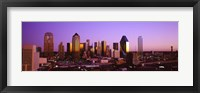 Framed Dallas, Texas Skyline with Purple Sky