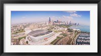 Framed Aerial view of a stadium, Soldier Field, Chicago, Illinois