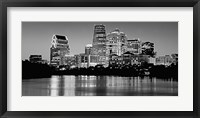 Framed USA, Texas, Austin, Panoramic view of a city skyline (Black And White)