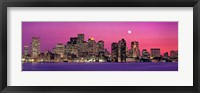 Framed USA, Massachusetts, Boston, View of an urban skyline by the shore at night