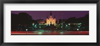 Framed Buildings lit up at night, Jackson Square, St. Louis Cathedral, French Quarter, New Orleans, Louisiana, USA
