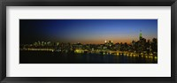 Framed City skyline at night, view of Manhattan from Long Island, New York City, New York State, USA