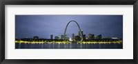 Framed Buildings Lit Up At Dusk, Mississippi River, St. Louis, Missouri, USA
