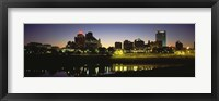 Framed Buildings At The Waterfront Lit Up At Dawn, Memphis, Tennessee, USA