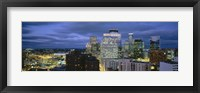 Framed Buildings Lit Up At Dusk, Minneapolis, Minnesota