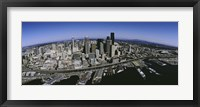 Framed Aerial view of a city, Seattle, Washington State, USA