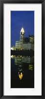 Framed Buildings in a city lit up at night, Scioto River, Columbus, Ohio, USA
