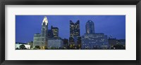Framed Low angle view of buildings lit up at night, Columbus, Ohio, USA