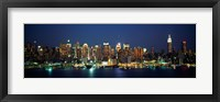 Framed Waterfront View of New York Ciry at Night