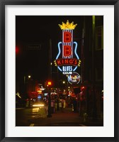 Framed Neon sign lit up at night, B. B. King's Blues Club, Memphis, Shelby County, Tennessee, USA