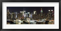 Framed Buildings in a city lit up at night, Hudson River, Midtown Manhattan, Manhattan, New York City, New York State, USA