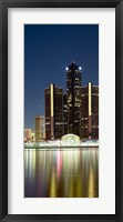 Framed Skyscrapers lit up at dusk, Renaissance Center, Detroit River, Detroit, Michigan, USA