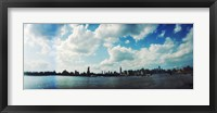 Framed Manhattan skyline viewed from East River Park, East River, Williamsburg, Brooklyn, New York City, New York State, USA