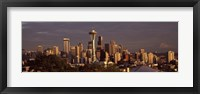 Framed Seattle skyline at dusk, King County, Washington State, USA 2010