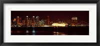 Framed San Diego Skyline at Night
