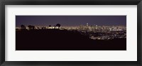 Framed City lit up at night, Griffith Park Observatory, Los Angeles, California, USA 2010