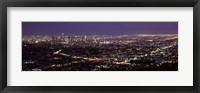 Framed Night View of Los Angeles, California with Purple Sky