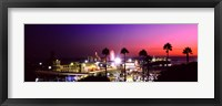 Framed Amusement park lit up at night, Santa Monica Beach, Santa Monica, Los Angeles County, California, USA