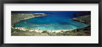 Framed High angle view of a coast, Hanauma Bay, Oahu, Honolulu County, Hawaii, USA