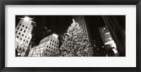 Framed Christmas tree lit up at night, Rockefeller Center, Manhattan (black and white)