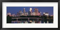 Framed Buildings lit up at night in a city, Minneapolis, Mississippi River, Hennepin County, Minnesota, USA