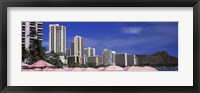 Framed Skyscrapers at the waterfront, Honolulu, Oahu, Hawaii, USA