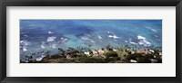 Framed Aerial view of the pacific ocean, Ocean Villas, Honolulu, Oahu, Hawaii, USA