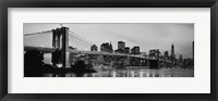 Framed Brooklyn Bridge across the East River at dusk, Manhattan (black and white)