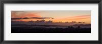 Framed City view at dusk, Emeryville, Oakland, San Francisco Bay, San Francisco, California, USA