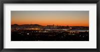 Framed City view at dusk, Oakland, San Francisco Bay, San Francisco, California, USA