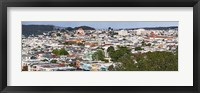 Framed High angle view of colorful houses in a city, Richmond District, Laurel Heights, San Francisco, California, USA
