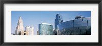 Framed Low angle view of downtown skyline, Sprint Center, Kansas City, Missouri, USA