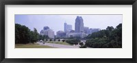 Framed Street scene with buildings in a city, Raleigh, Wake County, North Carolina, USA