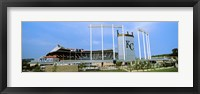 Framed Baseball stadium in a city, Kauffman Stadium, Kansas City, Missouri