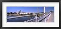 Framed Bridge across a river, Bob Kerrey Pedestrian Bridge, Missouri River, Omaha, Nebraska, USA