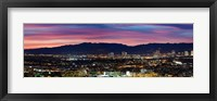 Framed High angle view of a city at dusk, Culver City, Santa Monica Mountains, West Los Angeles, Westwood, California, USA