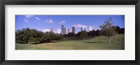 Framed Downtown skylines viewed from a park, Houston, Texas, USA
