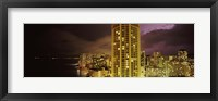 Framed Buildings lit up at night, Honolulu, Oahu, Hawaii, USA