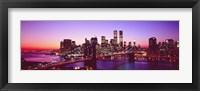 Framed USA, New York City, Brooklyn Bridge, twilight