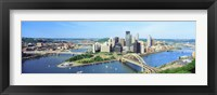 Framed Daytime Skyline With The Alleghany River, Pittsburgh, Pennsylvania, USA