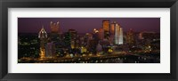 Framed High angle view of buildings lit up at night, Pittsburgh, Pennsylvania, USA
