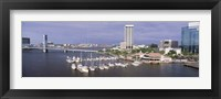 Framed USA, Florida, Jacksonville, St. Johns River, High angle view of Marina Riverwalk