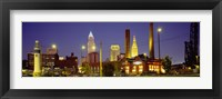 Framed Buildings Lit Up At Night, Cleveland, Ohio