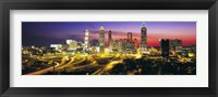 Framed Skyline, Evening, Dusk, Illuminated, Atlanta, Georgia, USA,