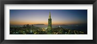 Framed Transamerica Pyramid Lit Up at Dusk, San Francisco, California