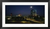 Framed Buildings lit up at night, Sacramento, California, USA