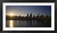 Framed Buildings along the waterfront at sunset, Willamette River, Portland, Oregon, USA