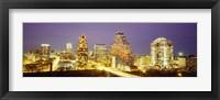 Framed Buildings lit up at dusk, Austin, Texas, USA