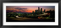Framed Sunset Puget Sound & Seattle skyline WA USA